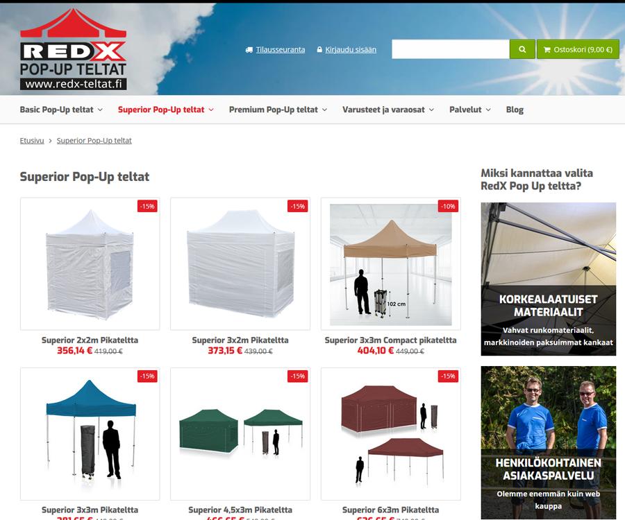 Pop-up teltat suoraan maahantuojalta
